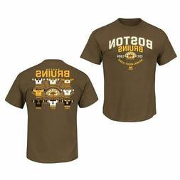 Boston Bruins Brown Vintage Jersey History T-Shirt