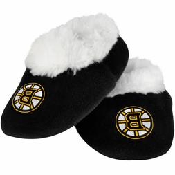 Boston Bruins NHL Black Team Logo Baby Bootie Slippers/Shoes