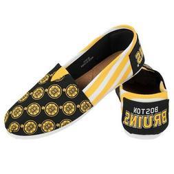 Boston Bruins Women's NHL Slip On Canvas Stripe Shoe Slipper