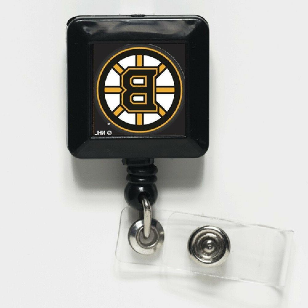 "Boston Bruins Official NHL 1""x1"" Retractable Badge Holder Ke"