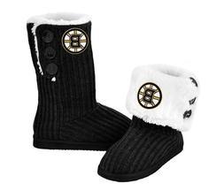 NHL Boston Bruins Hockey Ladies Knit High End Button Boot Sl